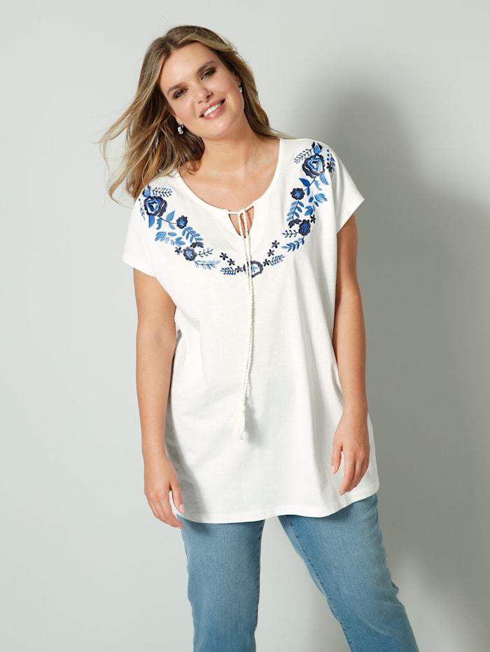 Janet & Joyce T-shirt brodé à l'encolure, Blanc cassé/Marine