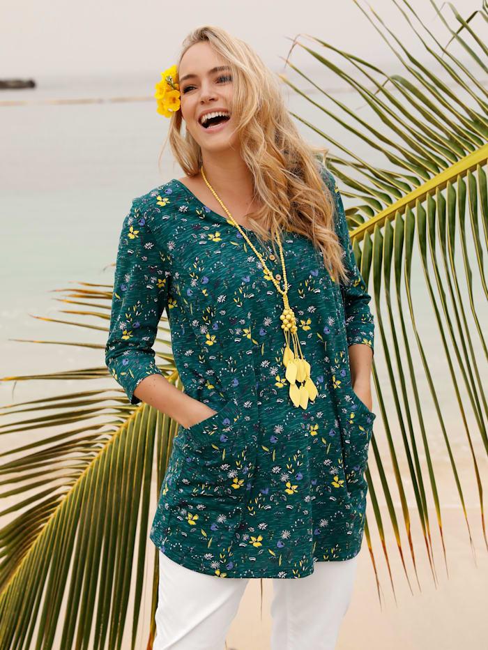 MIAMODA T-shirt long à imprimé floral, Vert