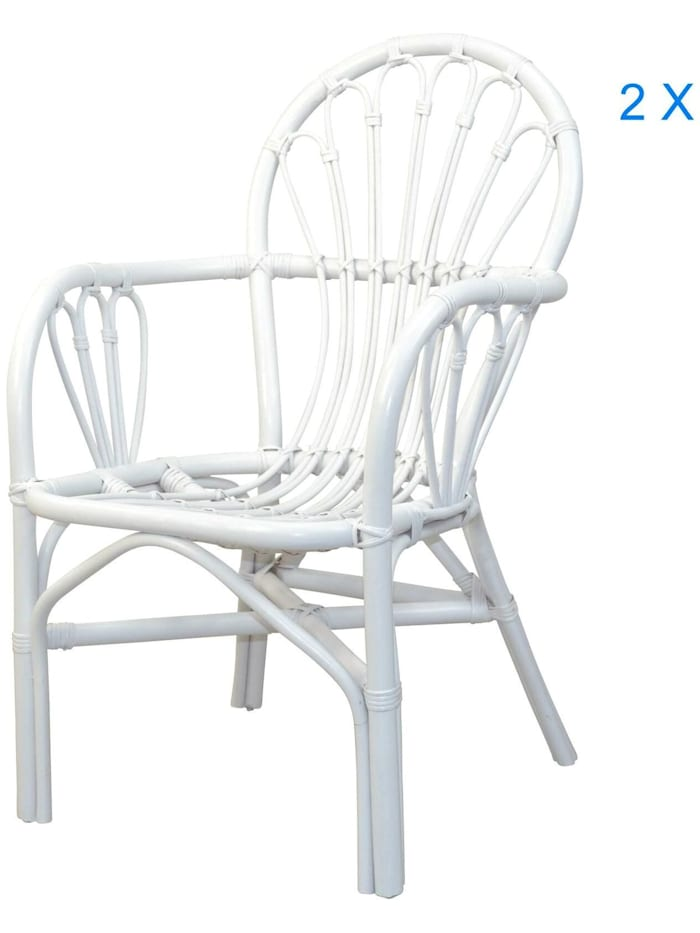 Möbel-Direkt-Online Rattansessel (2Stück) Conny, weiß