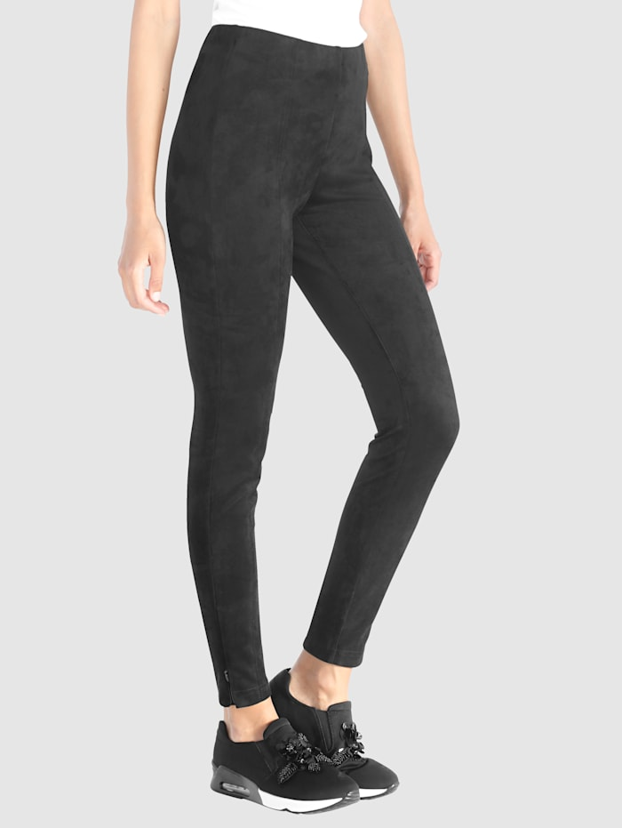 Laura Kent Trousers made from faux suede, Black