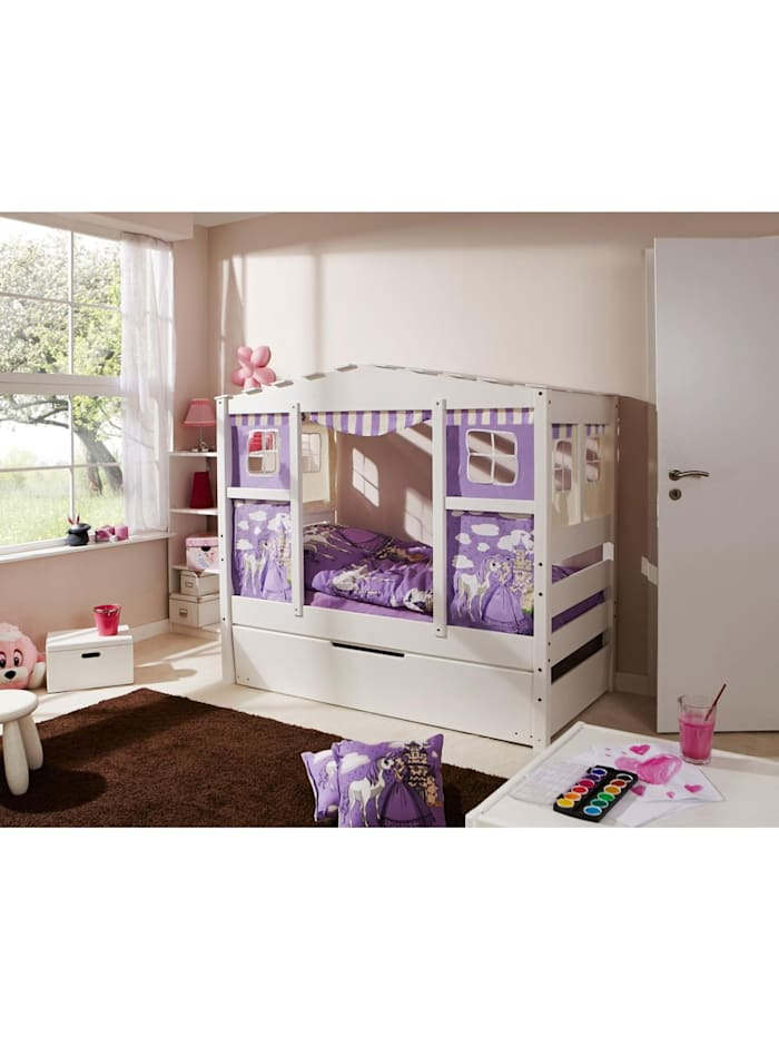 "Ticaa Hausbett Mini mit Bettkasten ""Horse Lila"" Kiefer Weiß, Weiß"