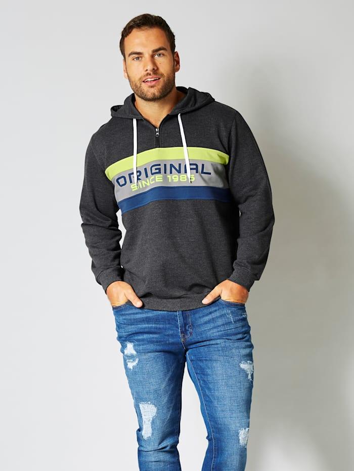Men Plus Sweatshirt met contrasterende inzetten, Antraciet