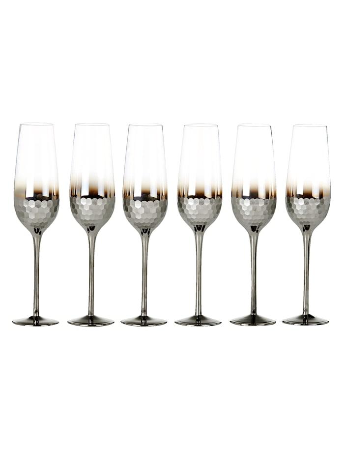 IMPRESSIONEN living Glas-Set, 6-tlg., klar/silberfarben, Champagnerglas-Set