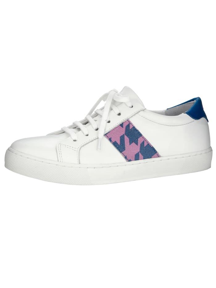 Sneaker mit modischem Hahnentritt-Muster, Weiß/Royalblau/Pink