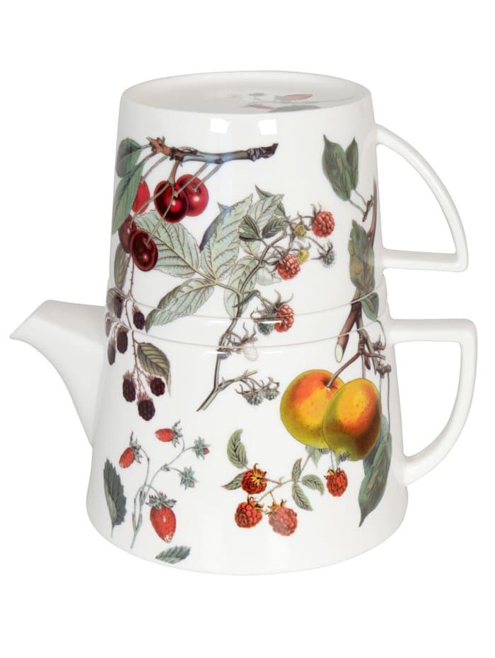 """Könitz Tekanna med lock och kopp """"Tea for me - fruktdekor"""", Flerfärgad"""