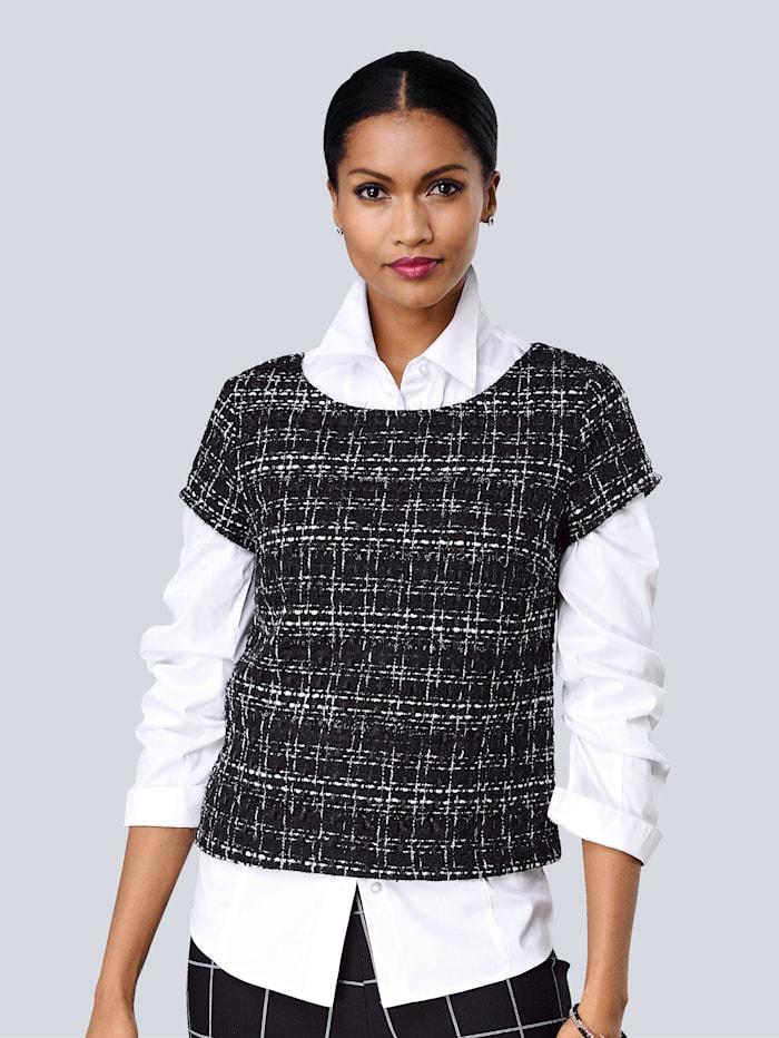 Alba Moda Blusen-Shirt in schöner Bouclé Qualität, Schwarz/Weiß