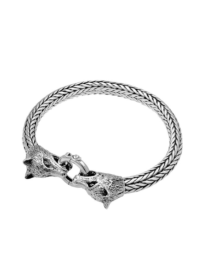Armband Herren Wolfskopf Braided Ringverschluss 925 Silber