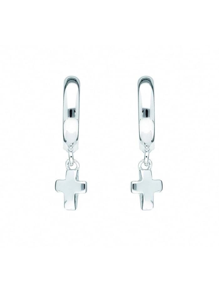 1001 Diamonds Damen & Herren Silberschmuck 925 Silber Ohrringe / Creolen Kreuz Ø 11,7 mm, silber
