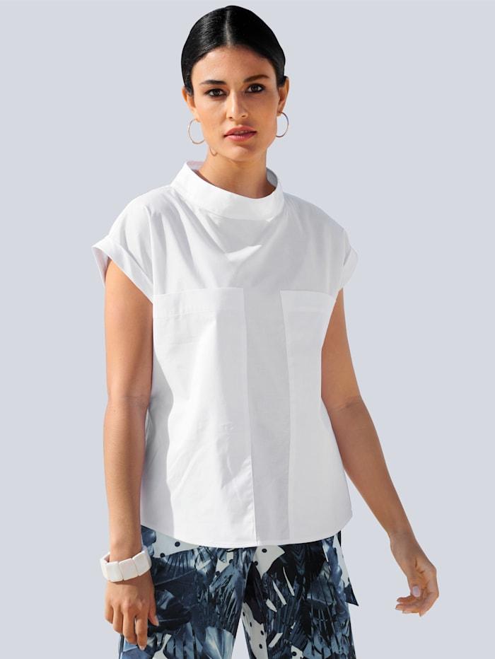 Alba Moda Blúzka s výrazne vypracovanými detailmi vpredu, Biela