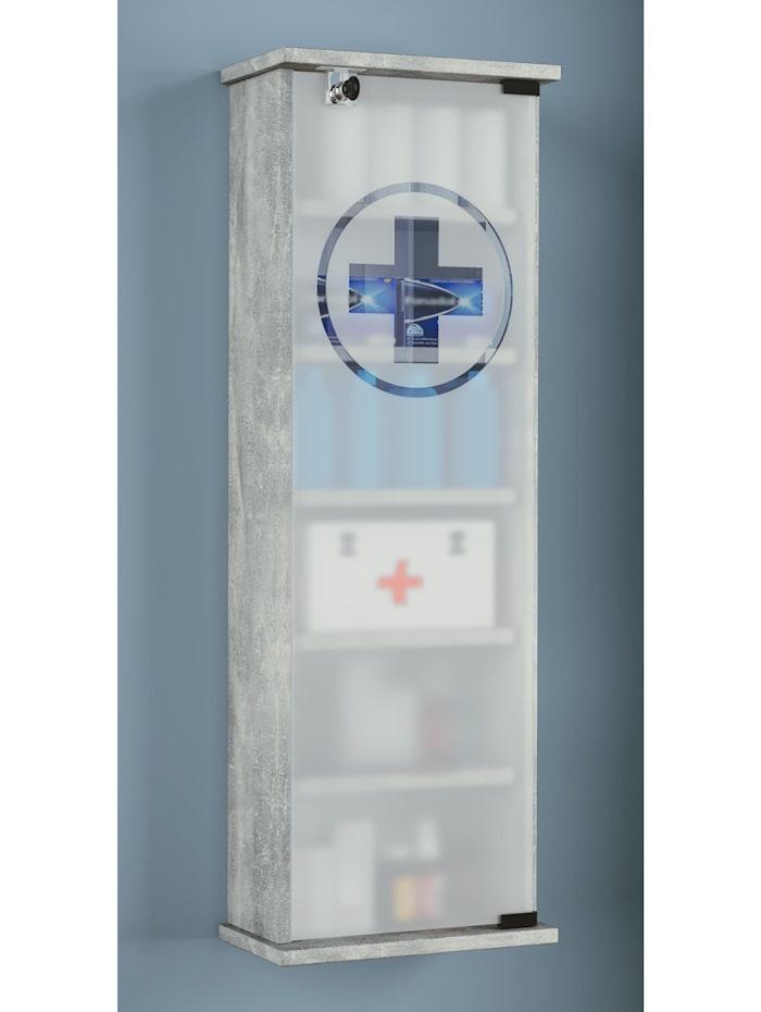 VCM Wand Medizinschrank Gusal Omal abschließbar, Beton-Optik