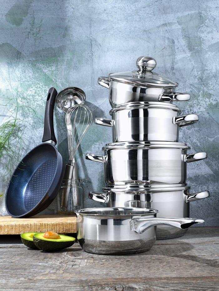Kok- och stekkärl med redskap