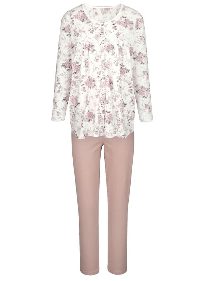 Harmony Pyjama à patte boutonnée, Écru/Vieux rose/Taupe