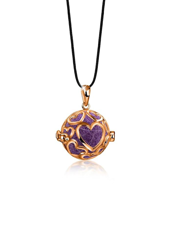 Nenalina Halskette Anhänger Nepal Filzkugeln Herzen Duft 925Er Silber, Rosegold