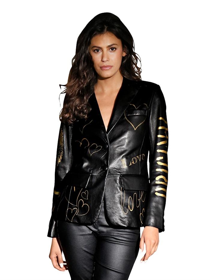 Maze Leren jasje met goudkleurige opschriften, Zwart/Goudkleur