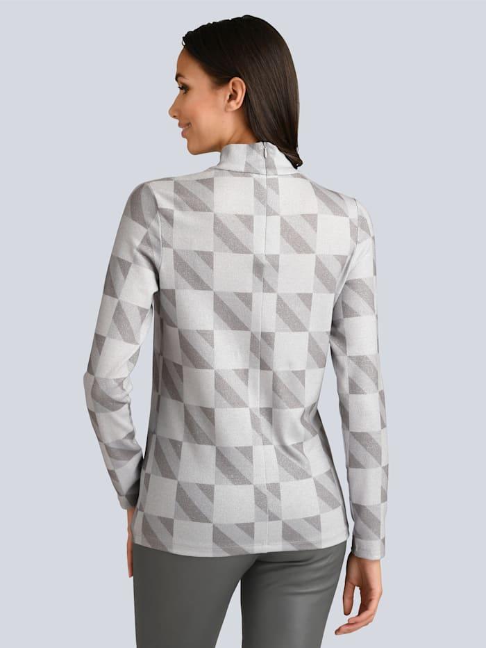 Rollkragen-Shirt mit silberfarbenem Lurex gearbeitet
