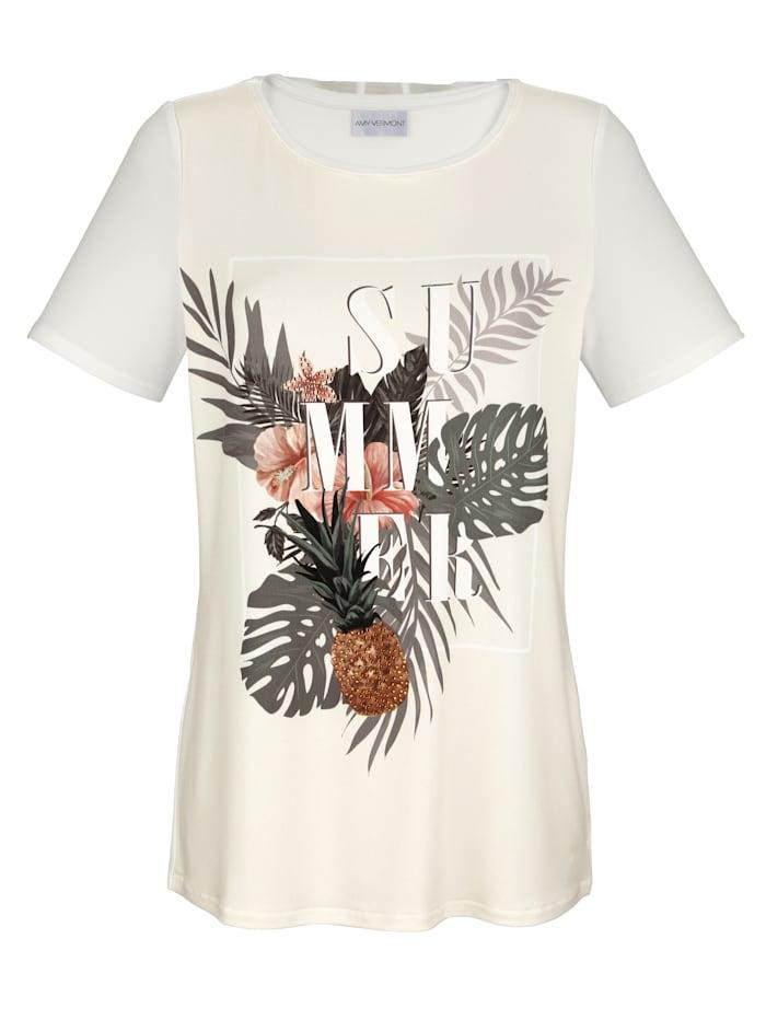 Shirt mit Druck und Strasssteindekoration