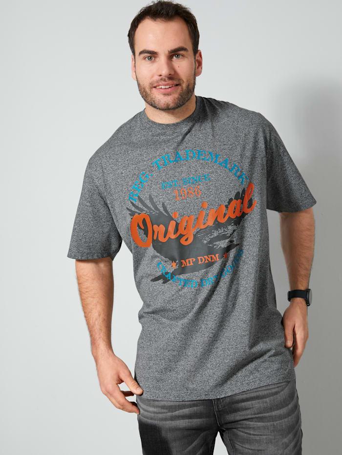 Men Plus T-shirt met contrastkleurige print voor, Zwart