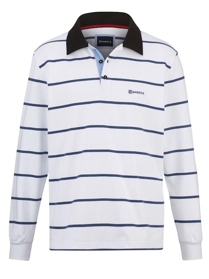 BABISTA Sweatshirt met overhemdkraag, Wit/Blauw