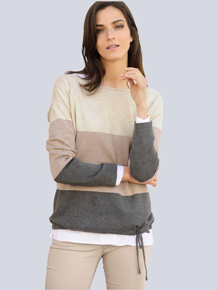 Alba Moda Pulovr s tunýlkem se šňůrkou k zavazování, Béžová/Bílá