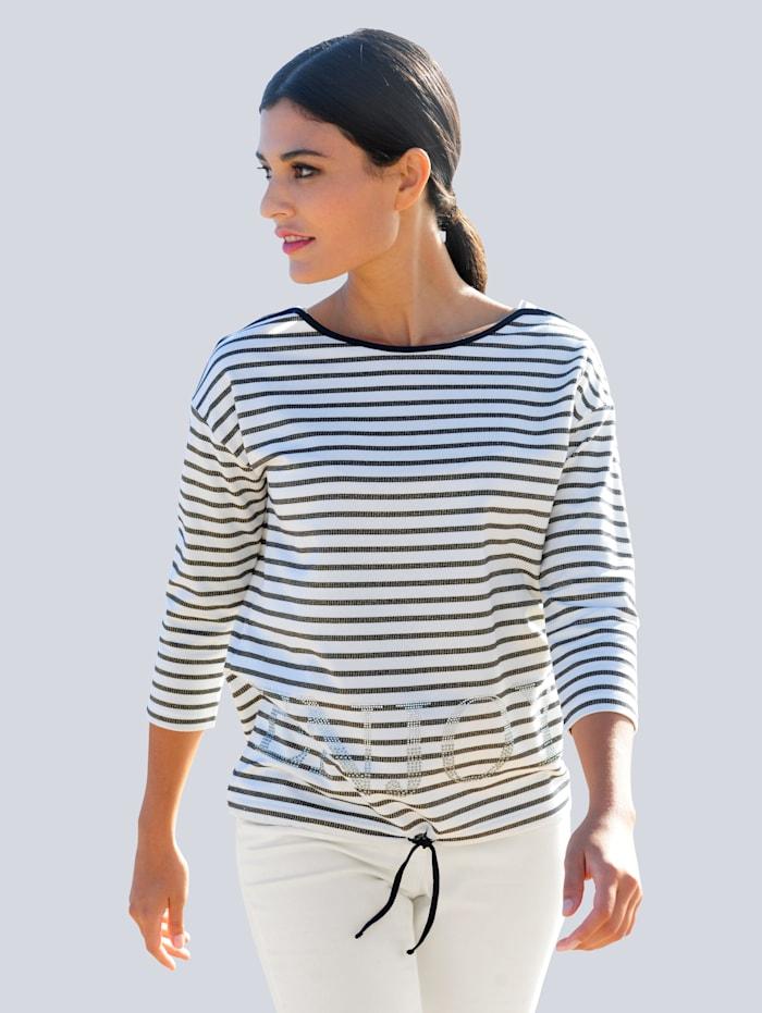 Alba Moda Shirt met strassteentjes, Marine/Wit