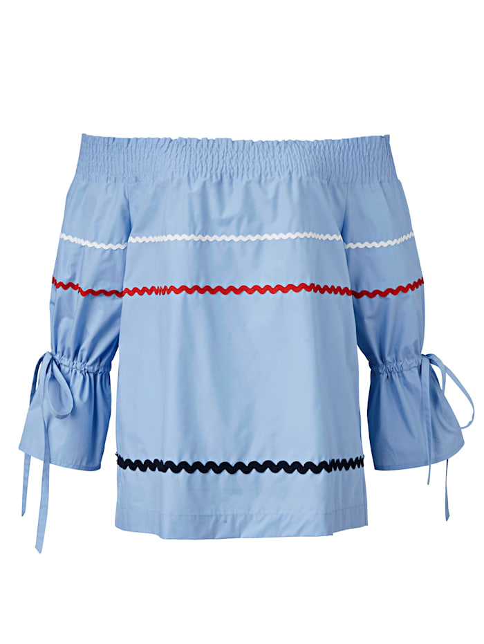 REKEN MAAR Carmenbluse mit aufgesetzten Bändern, Hellblau