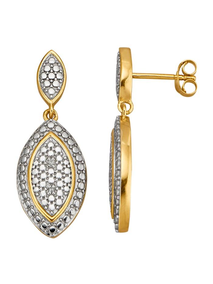 KLiNGEL Ohrringe mit Diamanten, Gelbgoldfarben