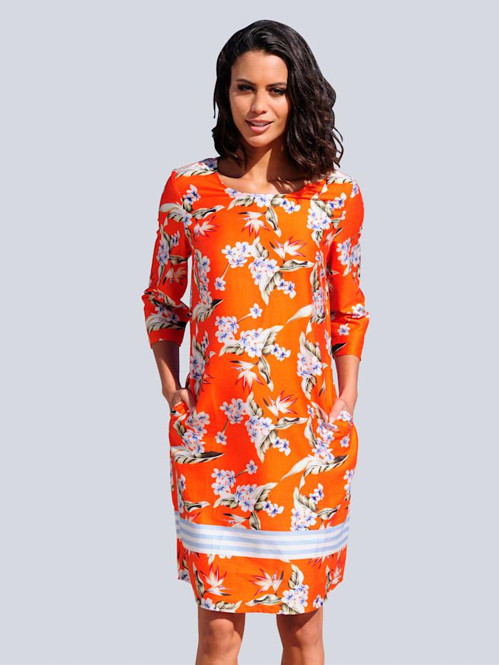 Alba Moda Strandkleid aus Baumwollsatin, Orange