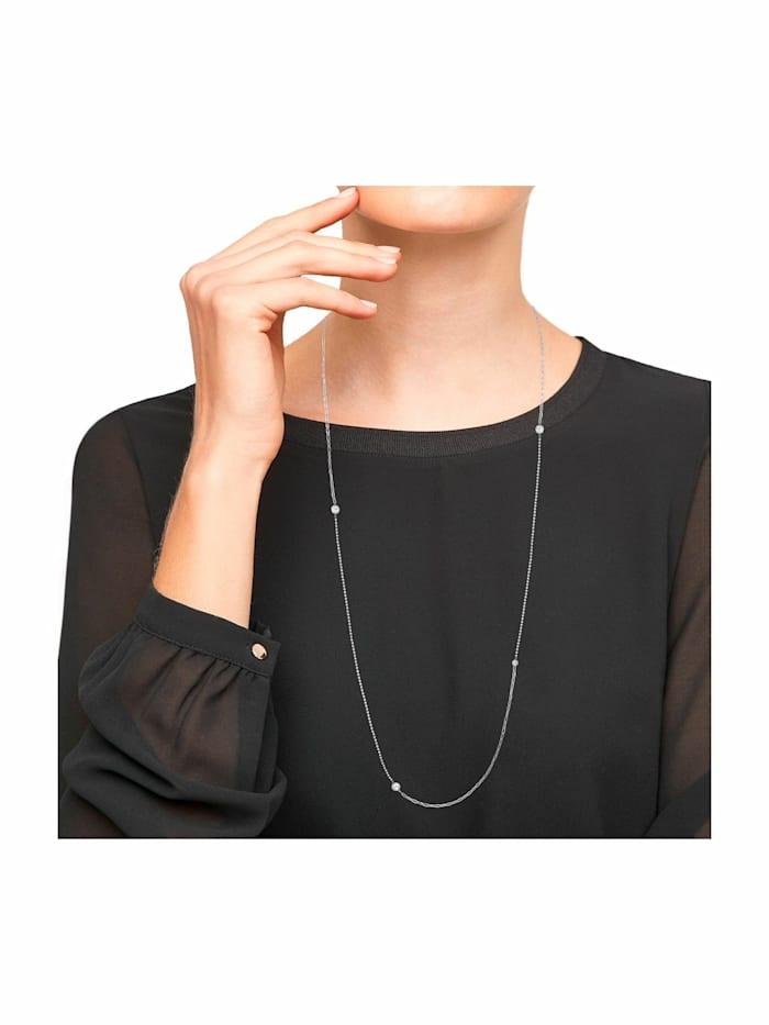 Halskette für Damen, Edelstahl   Kugel 72+5 cm lang