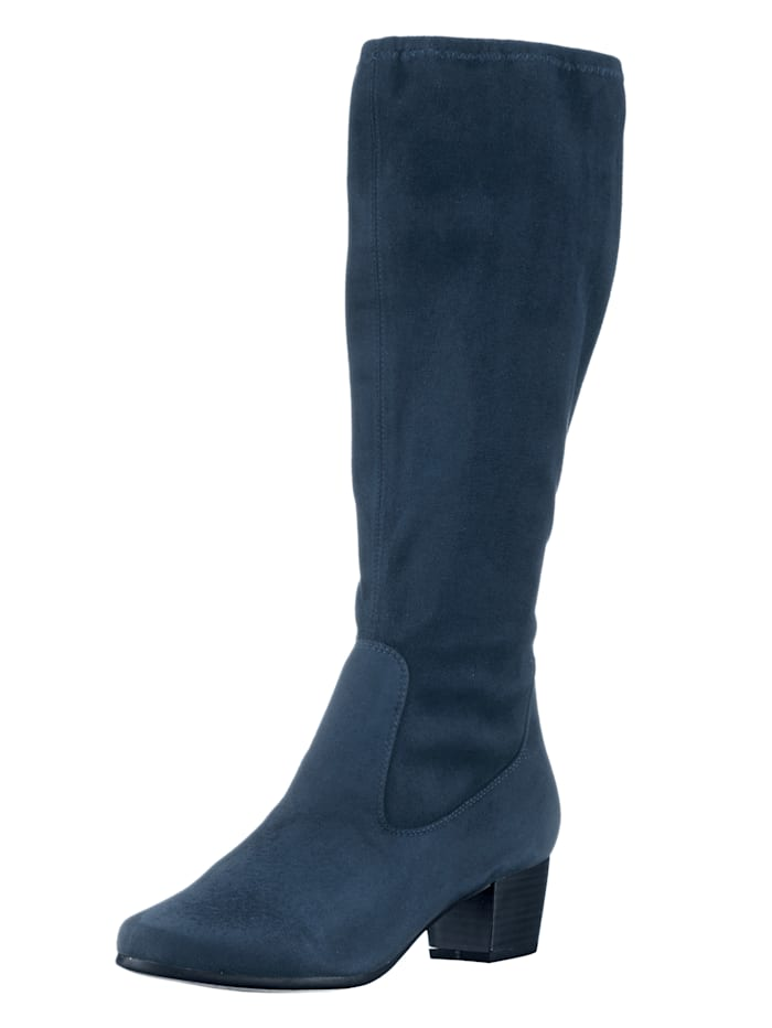 Caprice Boots made from a soft fabric, Dark Blue