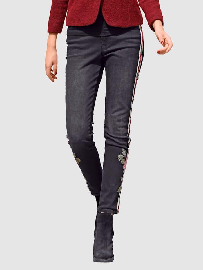 Alba Moda Jeans mit dekorativen Seitenstreifen, Schwarz