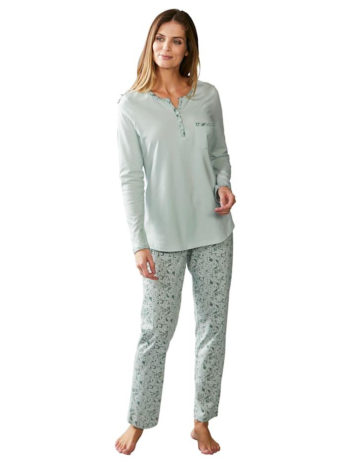Harmony Pyjama avec poche poitrine, Jade/Vert foncé