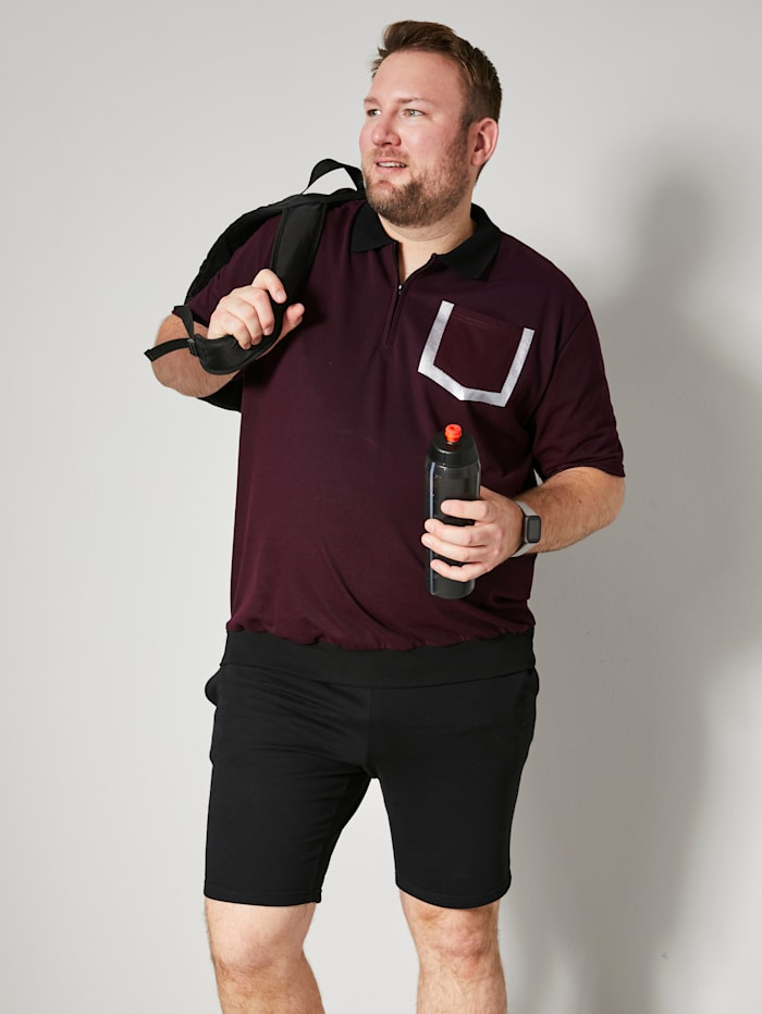 Men Plus Poloshirt Spezialschnitt, Bordeaux/Schwarz