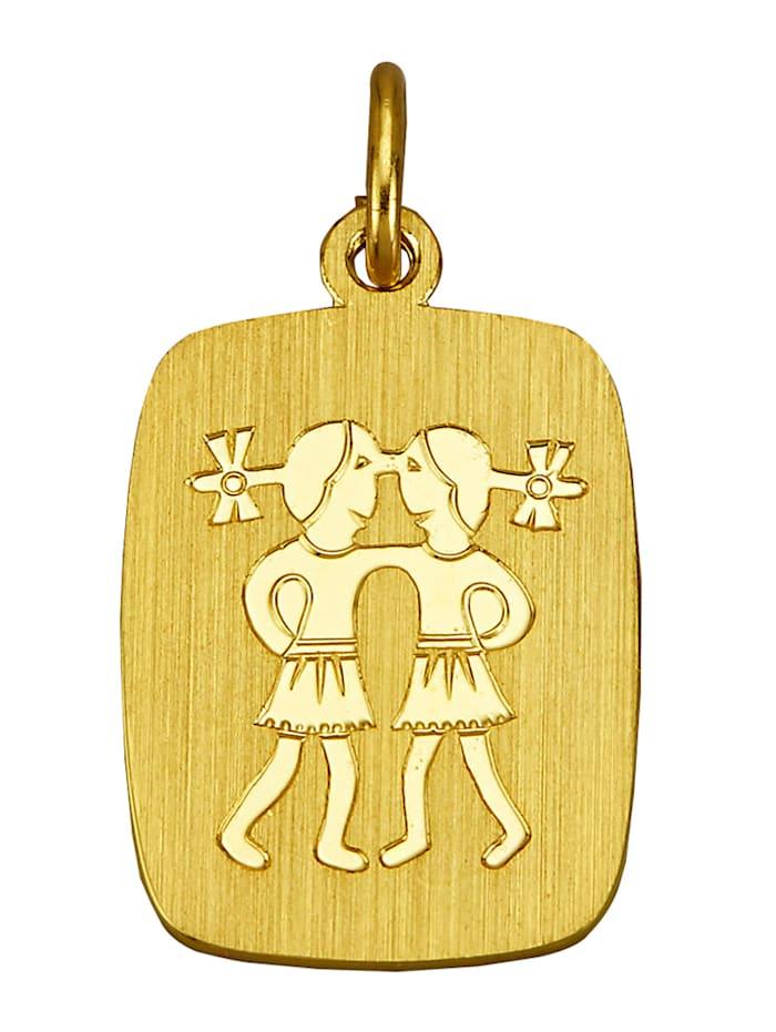 Pendentif avec signe du zodiaque en alliage or jaune 333, Coloris or jaune