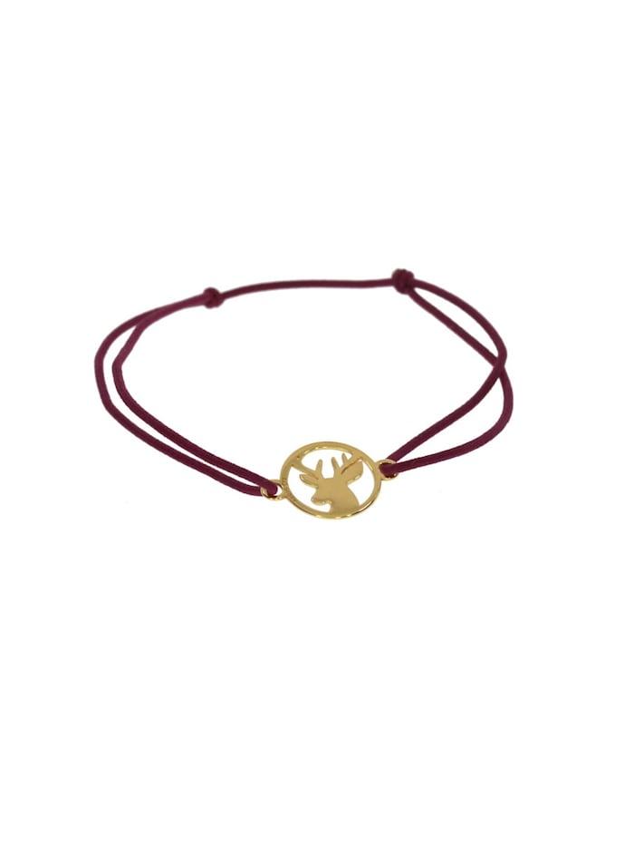 1001 Diamonds Armband Hirsch 925 Silber vergoldet WR   weinrot, weinrot