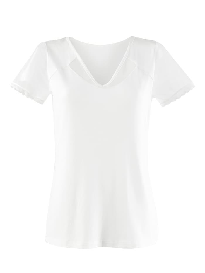 Alba Moda Shirt mit transparentem Mesh-Einsatz, Off-white