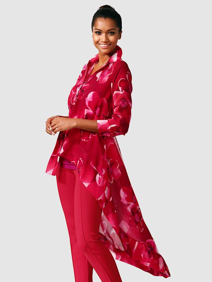 Alba Moda Bluse in modischer Schnittführung, Rot