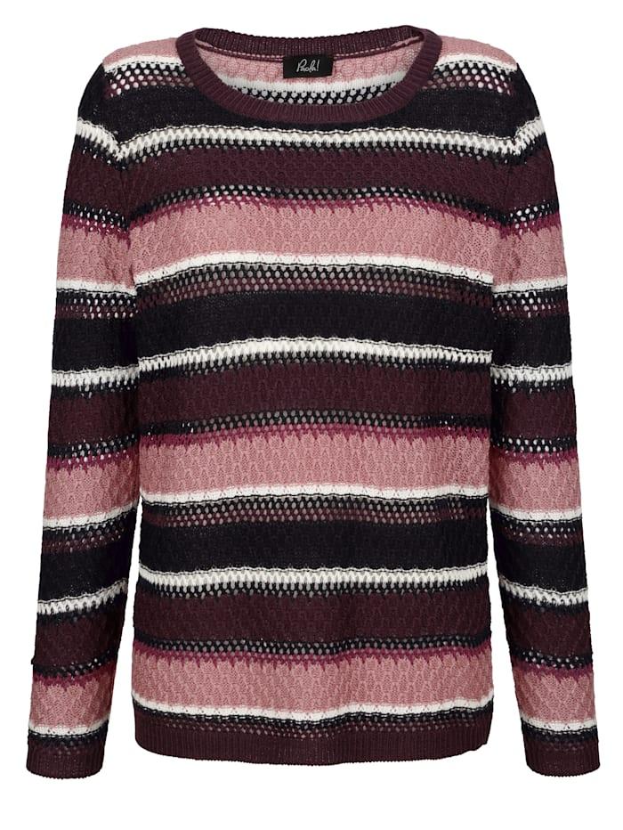 Pullover mit gestreiftem Ajourmuster