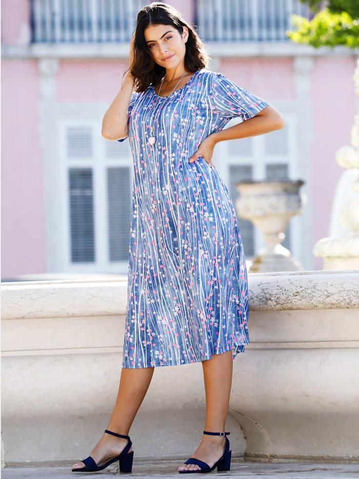 m. collection Jersey jurk met strepen en bloemen, Blauw/Multicolor
