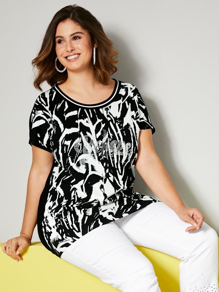 Sara Lindholm Shirt mit Dekosteinen, Schwarz/Weiß