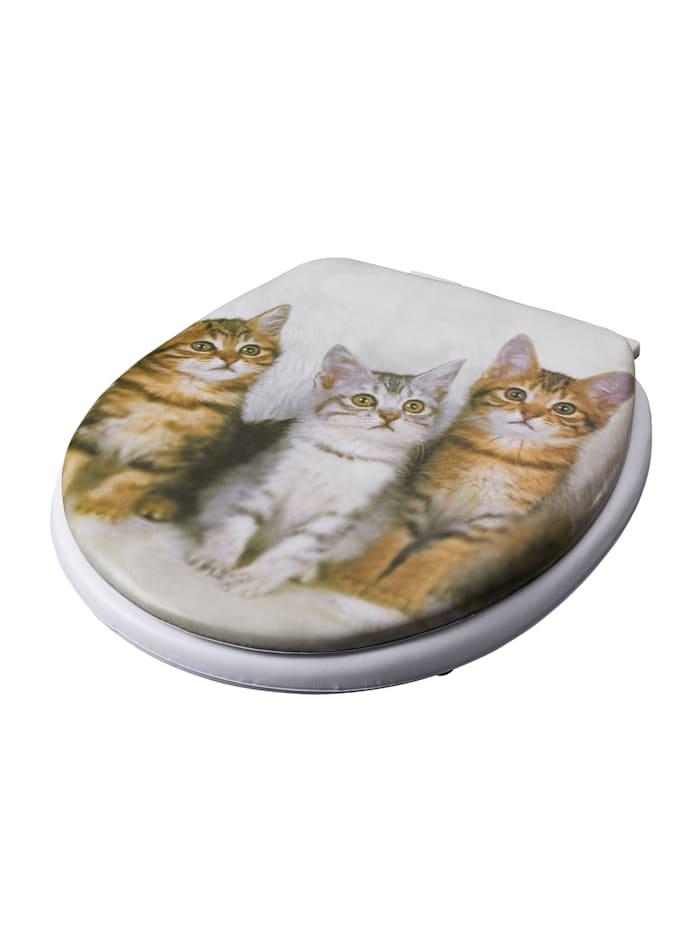 Soft-toiletbril Katten, wit