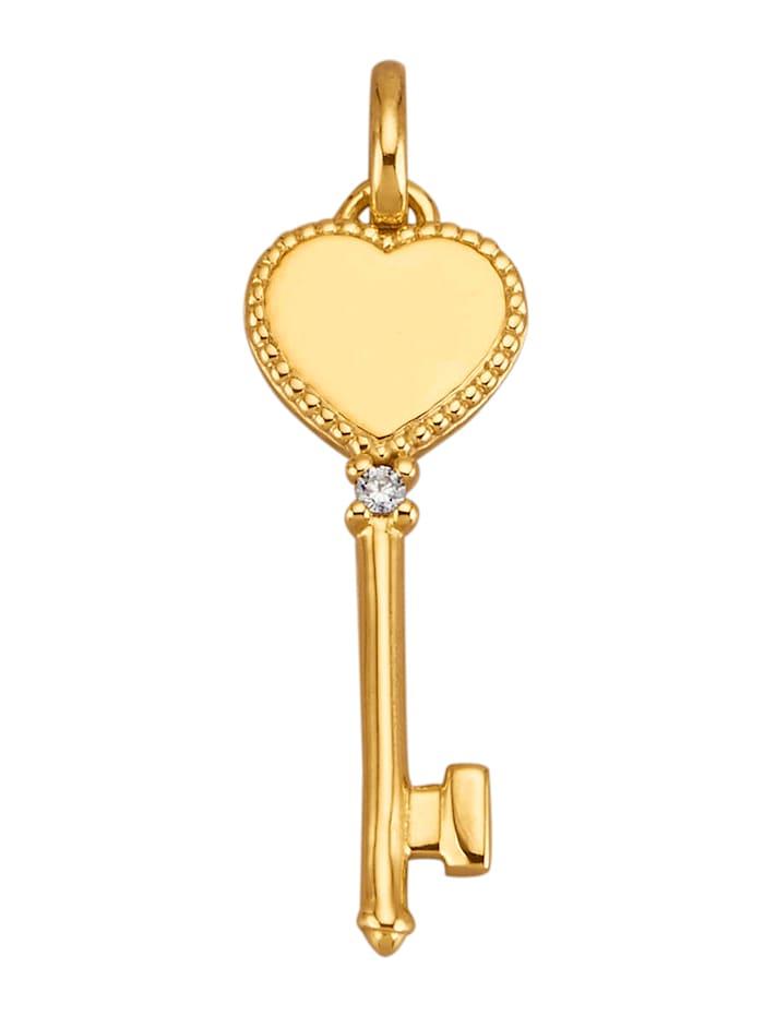 AMY VERMONT Hanger met diamant, Geelgoudkleur