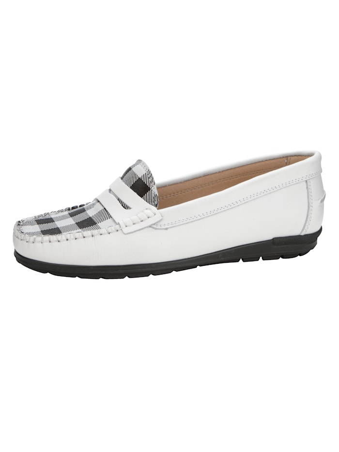Naturläufer Moccasins with a check print, White/Black