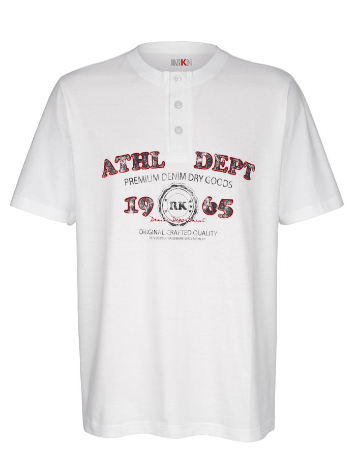 Roger Kent T-shirt met print voor, Wit