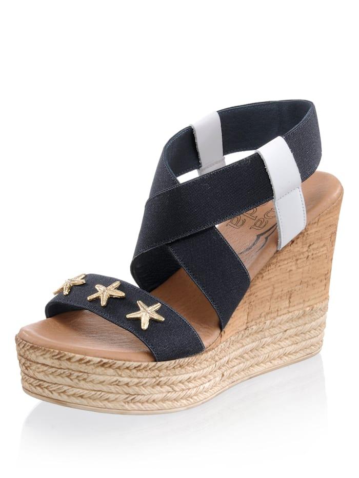 Alba Moda Sandaaltje van elastisch textielmateriaal, Blauw/Wit