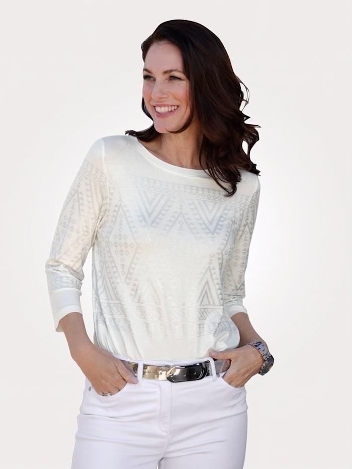 MONA Shirt met Noors motief, Ecru/Zilverkleur