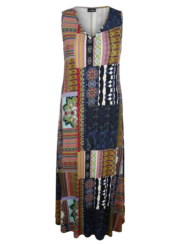 MIAMODA Robe à motifs mélangés, Multicolore