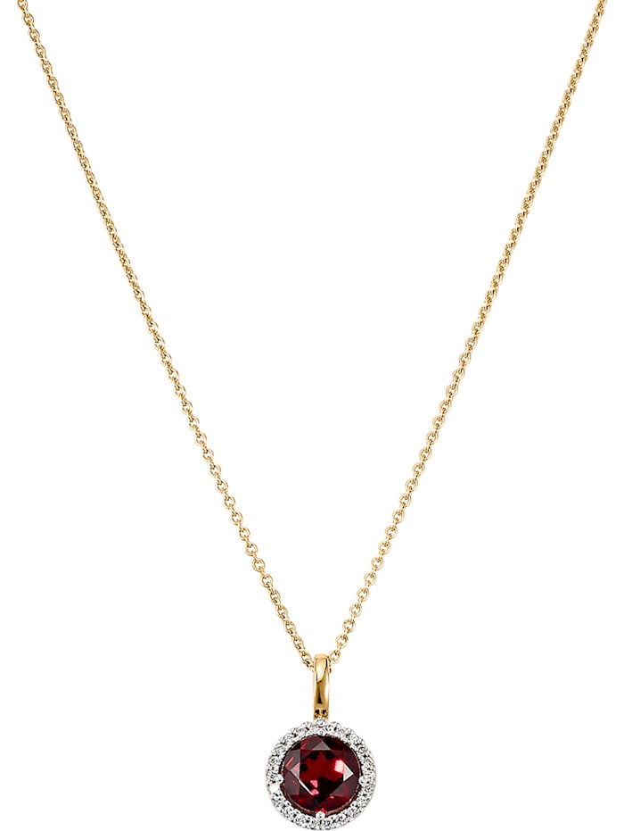 CHRIST Damen-Kette 585er Gelbgold, 585er Gelbgold teilrhodiniert 1 Granat