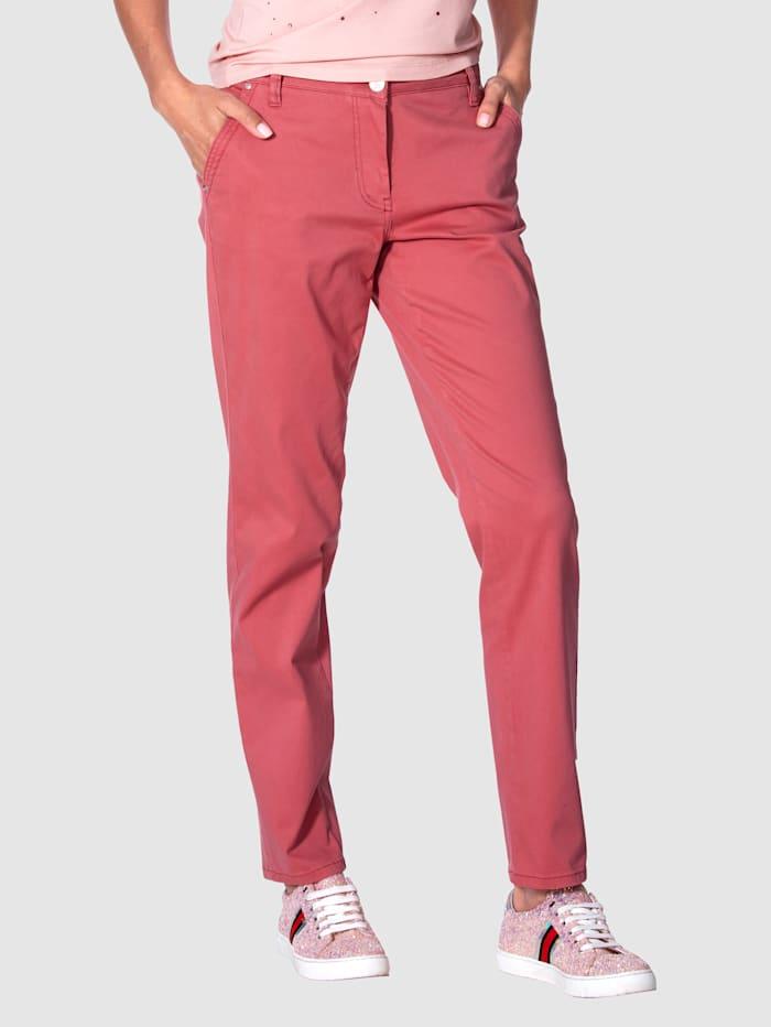 AMY VERMONT Pantalon chino en coloris tendance, Corail