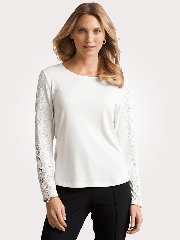 MONA Top with lace and rhinestone detailing, Ecru