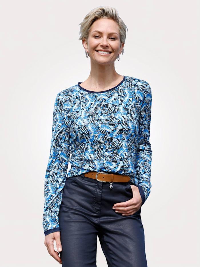 MONA Shirt mit Allover-Druck, Royalblau/Schwarz/Weiß